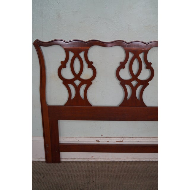 Drexel Heritage Queen Size Cherry Chippendale Style Headboard - Image 6 of 10