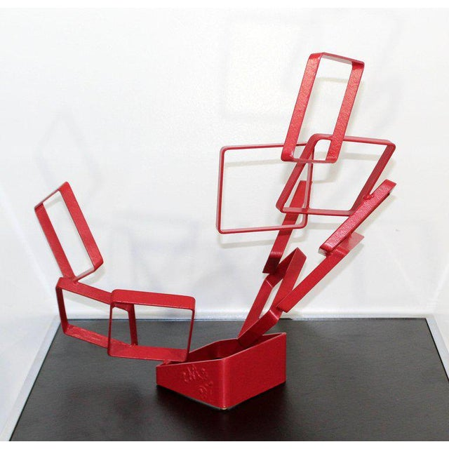 For your consideration is an abstract, red painted metal table sculpture, signed and dated by Cynthia McKean, circa 1997....