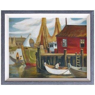 1930s Vintage WPA American School Shipyard Oil Painting For Sale