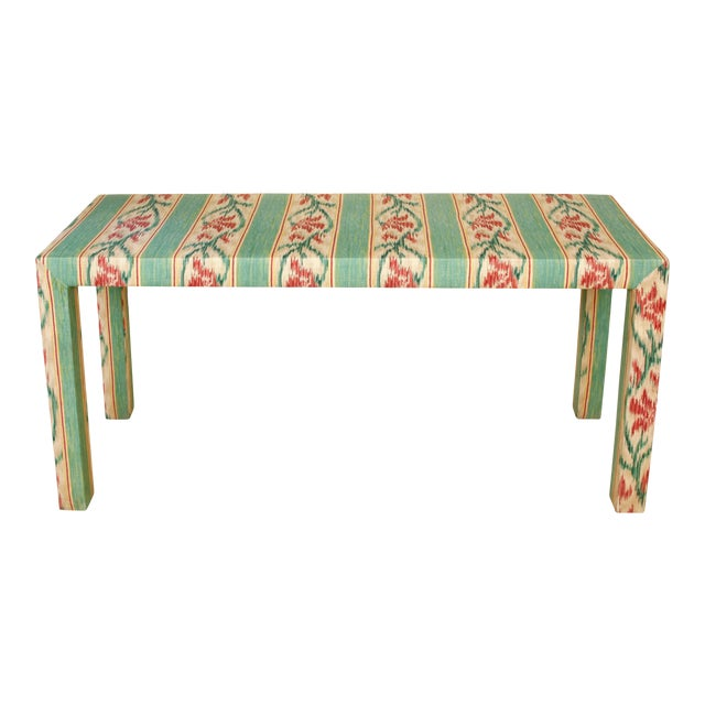 Custom Parsons Style Upholstered Console For Sale