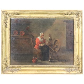 18th Century Flemish Oil Painting on Canvas Woman Who Weaves For Sale
