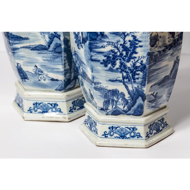20th C. Tall Chinese Blue & White Vases - a Pair For Sale In West Palm - Image 6 of 11