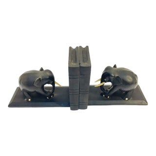 Ebony Hand Carved Wooden Elephant Bookends - a Pair For Sale
