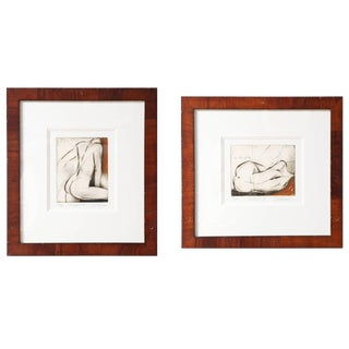 Pair of Female Nude Etchings by Sergei Firer For Sale