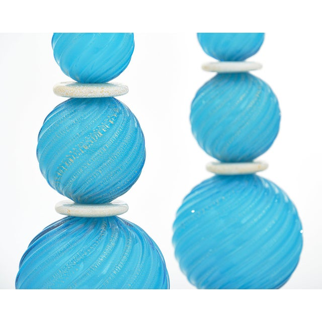 Glass Murano Glass Turquoise Lamps For Sale - Image 7 of 10