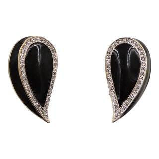 1980s Panetta Goldtone Black Enamel & Rhinestone Earrings For Sale