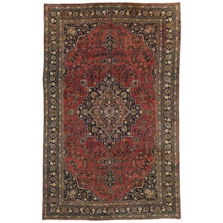 Vintage Persian Mashhad Gallery Traditional Style Rug - 10′1″ × 15′10″ For Sale