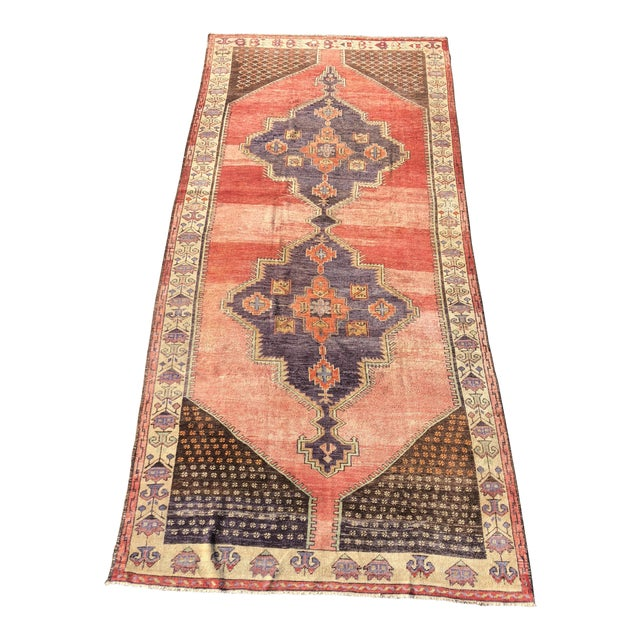 "Antique Turkish Oushak Runner - 5'1"" x 11'5"" - Image 1 of 12"