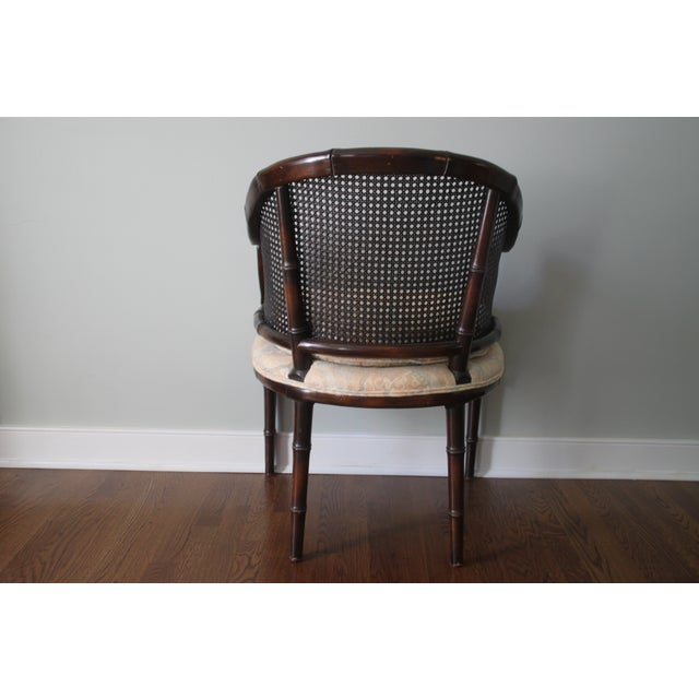 Faux Bamboo & Cane Barrel Back Chair For Sale - Image 5 of 10