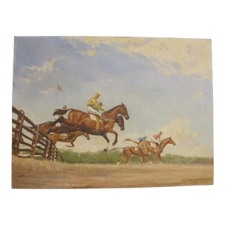 Vintage Steeple Chase Horse Race Painting 1939 For Sale