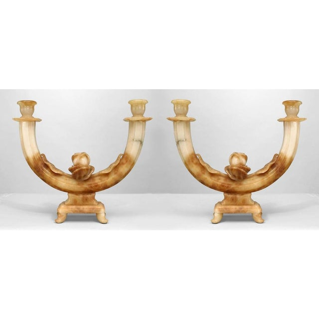 Pair Of Italian Art Deco Alabaster 2 Arm Candelabra For Sale - Image 4 of 4