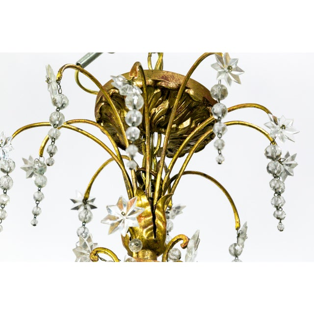 French Crystal Beaded & Brass Curls Ten Light Chandelier For Sale In San Francisco - Image 6 of 11