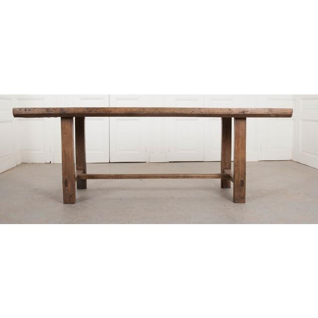 French 19th Century Oak Farmhouse Trestle Table For Sale - Image 4 of 11