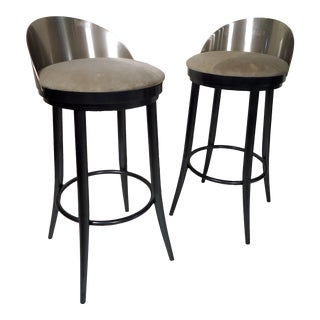 Pair of Vintage Style Metal Stools For Sale