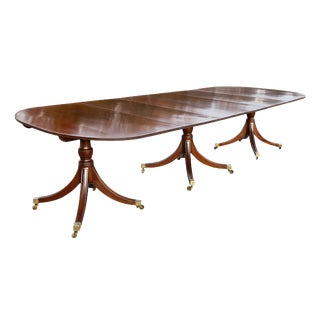 Regency Style Mahogany Three Pedestal Dining Table For Sale