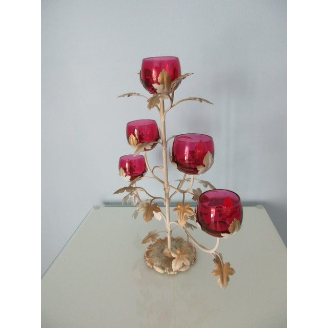Hollywood Regency Mid-Century Modern Candelabra With Rose Colored Glass For Sale - Image 3 of 13
