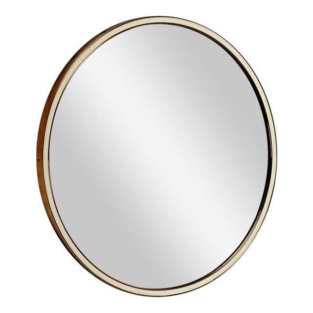 Sophisticated Wall mirror in round brass frame with white rim ...
