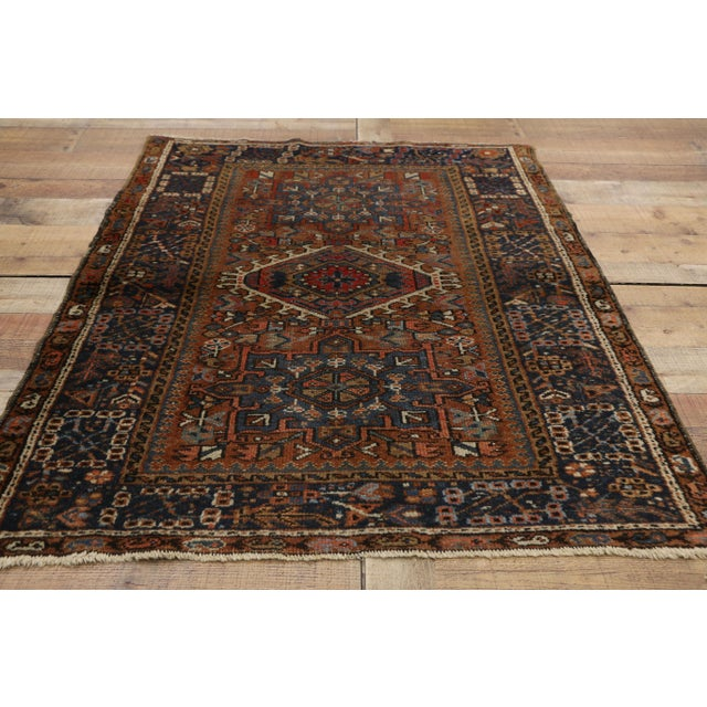 Blue Antique Persian Karaja Heriz Rug With Mid-Century Modern Style, 3'6x4'6 For Sale - Image 8 of 9