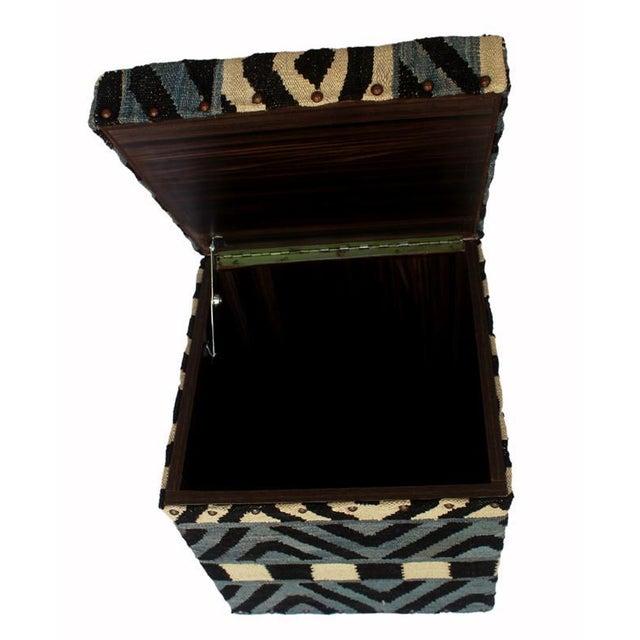 Delois Blue/Ivory Kilim Upholstered Handmade Storage Ottoman For Sale - Image 4 of 8