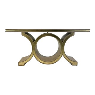 Global Views Modern Gray and Champagne Silver Link Console Table For Sale