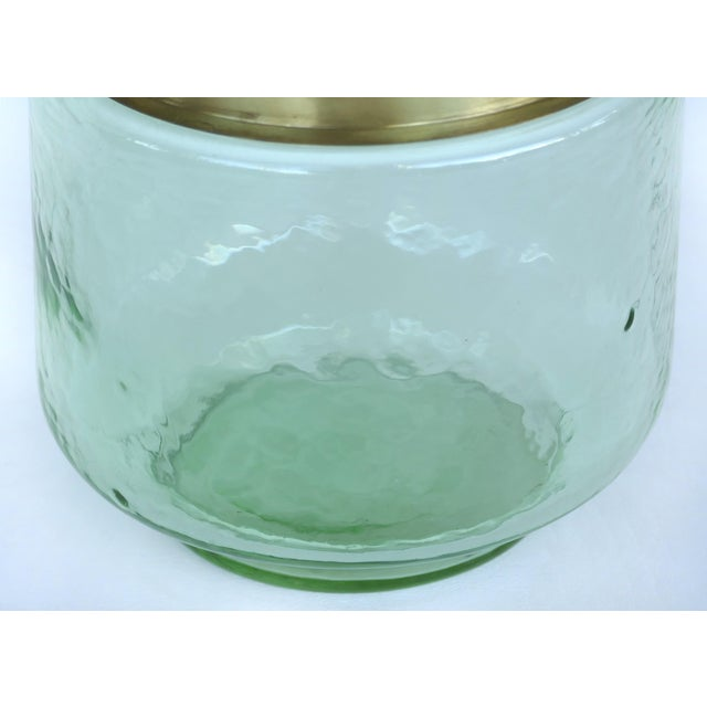 Mid 20th Century Hand-Blown Lava Glass Vase W/ Gilt-Metal Banding- Pair Available For Sale - Image 5 of 6