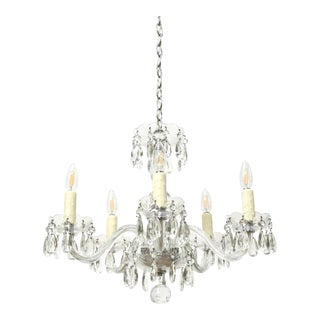 Small Bohemian Crystal Five Arm Chandelier For Sale