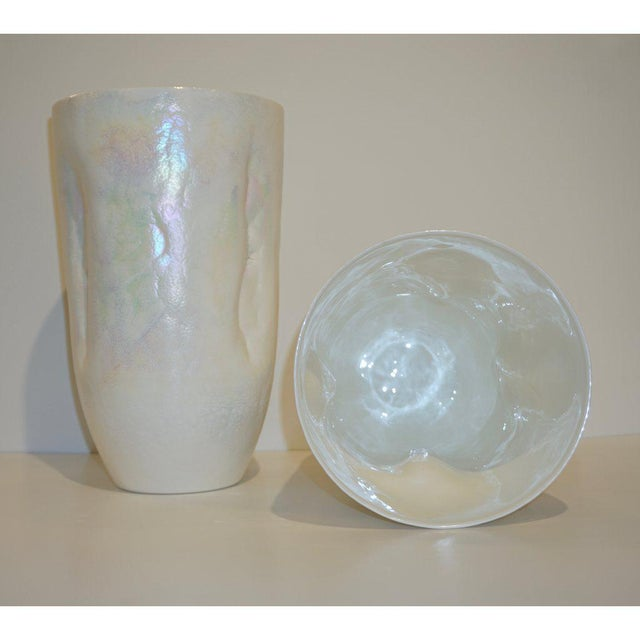 White Contemporary Minimalist Iridescent Pearl White Murano Glass Vases - a Pair For Sale - Image 8 of 9