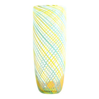 Vintage Baby Blue & Yellow Latticino Art Glass Tall Vase For Sale