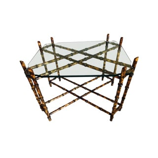 C.1970s Vintage Hollywood Regency Custom Burnished Bamboo & Glass Tea Table For Sale