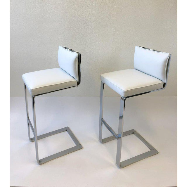 1970s Pair of Chrome and Leather Barstool by Milo Baughman For Sale - Image 5 of 10