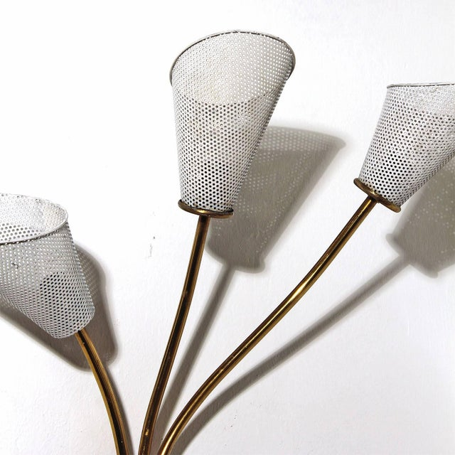 1960s Sconce In the Style of Mathieu Matégot, Brass, Perforated Metal, France For Sale - Image 4 of 6