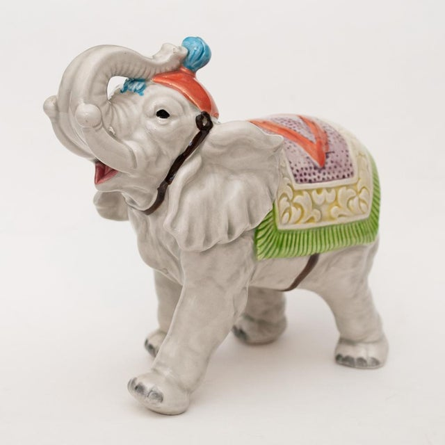 Japanese 1983 Japanese Porcelain Circus Elephant Figurine or Bookend For Sale - Image 3 of 13