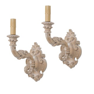 Pair of Italian Hand-Carved Beechwood Electrified Sconces For Sale