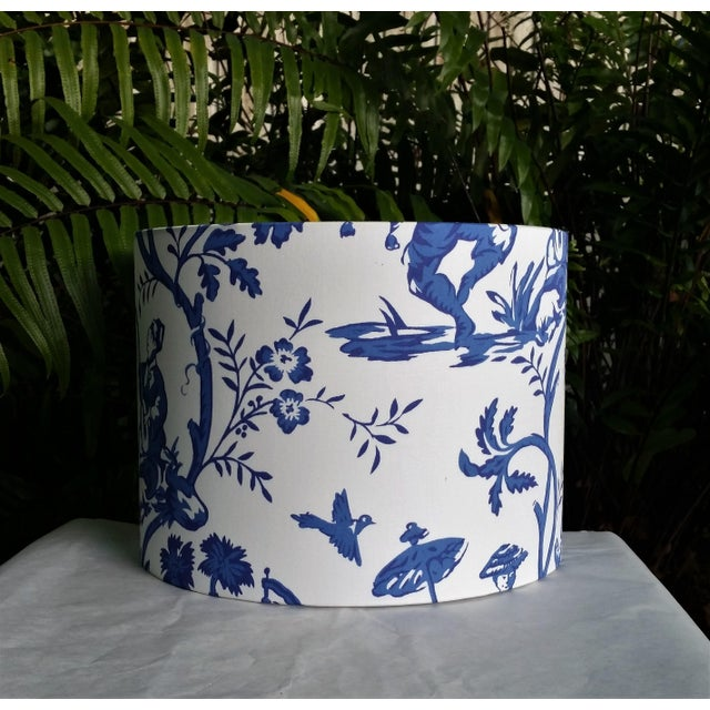 Cobalt Blue White Cotton Duralee Suri Fabric Drum Lampshade For Sale In West Palm - Image 6 of 11