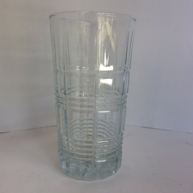Set of 8 Plaid Hand Cut Crystal Hi-Ball glasses by Waterford Marquis in the Crosby pattern.