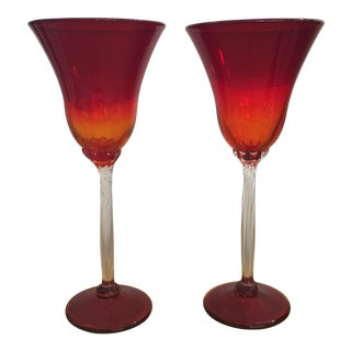 Ruby Red Hand Blown Glass Goblets - A Pair For Sale