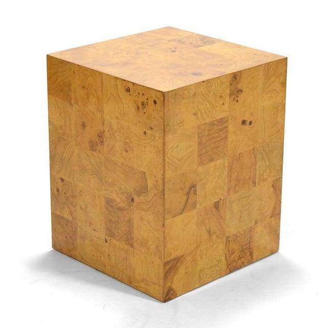 Milo Baughman Burl Patchwork Pedestal/ End Table by Thayer Coggin For Sale - Image 9 of 9