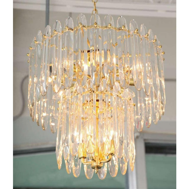 """Italian Two-Tiered """"Knife-Blade"""" Crystal Chandelier by Gaetano Sciolari For Sale - Image 3 of 5"""