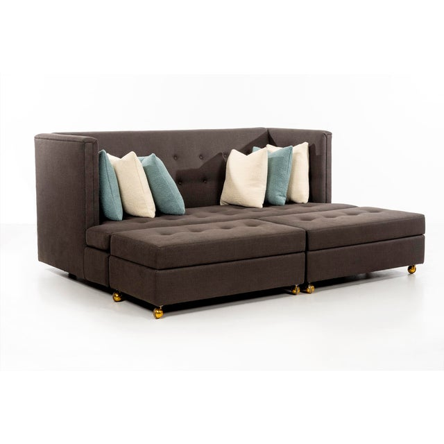 Thayer Coggin Milo Baughman Shelter Sofa and Ottomans For Sale - Image 4 of 13