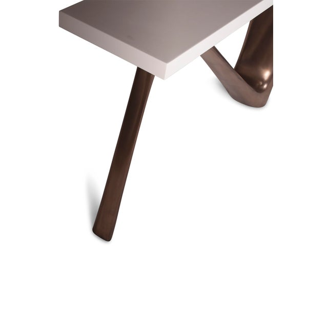 White Amorph Aviva White Lacquered Top and Bronze Base Console For Sale - Image 8 of 9