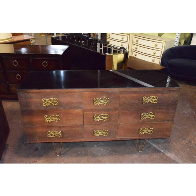 1960s Mid-Century Modern Dresser With Large Decorative Pulls and Pin Legs For Sale - Image 5 of 6