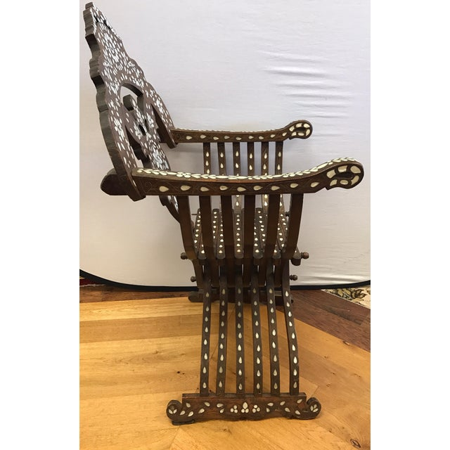 Mid-Century Modern Antique Mother-Of-Pearl Inlay Savonarola Chair For Sale - Image 3 of 13