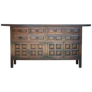 Catalan Spanish Baroque Carved Walnut Tuscan Six Drawers Credenza or Buffet For Sale