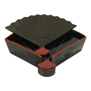 Vintage Otagiri Black & Red Hand Fan Coasters - Set of 6
