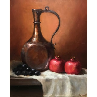 Original Pitcher and Pomegranates Still Life Painting For Sale