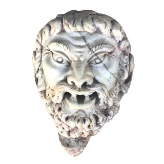 Italian Satyr Mask Fragment in Marble For Sale