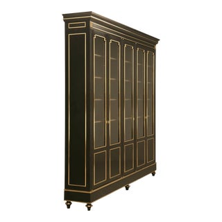 French Louis XVI Style Bookcase/China Cabinet, Ebonized Mahogany With Brass Trim For Sale