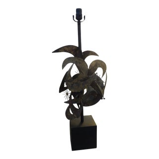 1960's Curtis Jere Attributed Brutalist Torch Cut Lamp For Sale