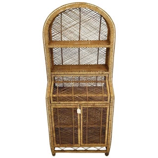 Vintage Woven Wicker Secretary Desk & Bookcase For Sale