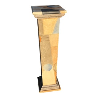 1980s Vintage Abstract Wood Pedestal For Sale